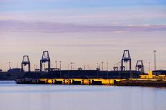 Industrial landscape with cranes in Getxo Stock Photos