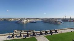 View on Malta bay from Barrakka Gardens Stock Footage