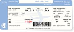 Blue airline boarding pass ticket - stock illustration