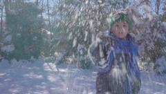 Little Boy Throwing Snowball - stock footage