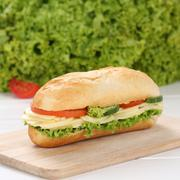 Healthy eating sub deli sandwich baguette with cheese - stock photo