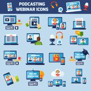 Podcasting and webinar icons set Piirros