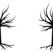 Winter Trees Silhouettes Stock Illustration