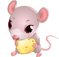 Cute mouse holding cheese Stock Illustration
