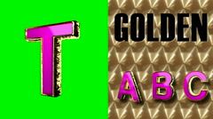 rendered on green chromakey loop golden and pink letter t - stock footage