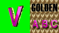 rendered on green chromakey loop golden and pink letter v - stock footage