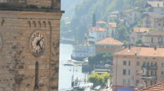 Italy Como Clock Tower With Background of Town Stock Footage