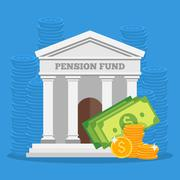 Pension fund concept vector illustration in flat style design. Finance invest - stock illustration