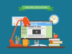 Online education concept. Vector illustration in flat style. Internet training - stock illustration