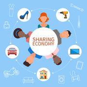 Sharing economy and smart consumption concept. Vector illustration in flat - stock illustration