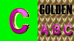 rendered on green chromakey loop golden and pink letter c - stock footage