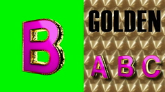 rendered on green chromakey loop golden and pink letter b - stock footage