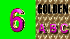 rendered on green chromakey loop golden and pink letter 6 - stock footage