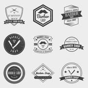 Barber shop logo vector set in vintage style. Design elements, labels, badges Stock Illustration