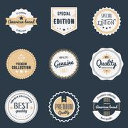 Premium quality labels set. Brands design elements, emblems, logo. Vector Stock Illustration