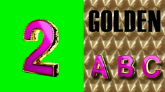 rendered on green chromakey loop golden and pink letter 2 - stock footage
