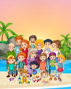 Familly members standing on the beach Stock Illustration