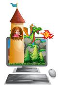Computer screen with princess in the tower Stock Illustration