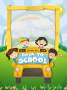 Children riding on school bus Piirros