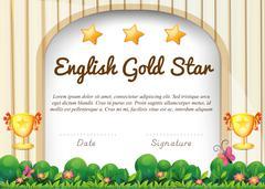 Certificate of English subject Stock Illustration