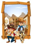 Two cowboys in the countryside Piirros
