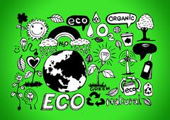 Eco Idea Sketch and Eco friendly Doodles - stock illustration