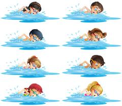 Many children swimming in the pool Stock Illustration