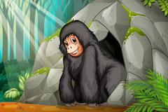Chimpanzee standing in front of the cave Stock Illustration