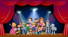 Children wearing costume on stage Stock Illustration