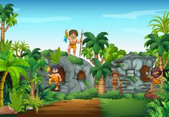 Cave people living in the forest Stock Illustration