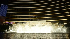 Show of the dancing fountains at Wynn hotel in Macau, China. Stock Footage