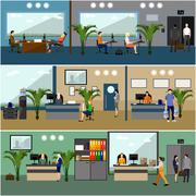 Flat design of business people or office workers. Company reception room. - stock illustration