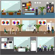 Flat design of business people or office workers. People having break. - stock illustration