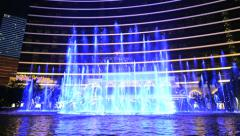 Show of the dancing fountains at Wynn hotel in Macau, China. - stock footage