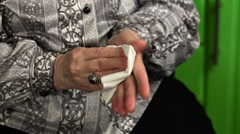 Old woman with napkin Stock Footage
