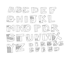 Font Sketch Hand drawing letters - stock illustration