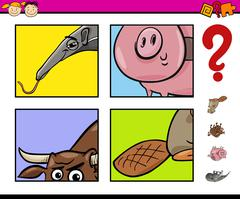 educational task with animals - stock illustration