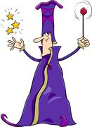 wizard character cartoon - stock illustration