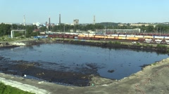 The former dump toxic waste in Ostrava, oil lagoon, Ostramo Stock Footage