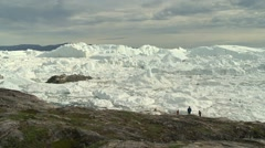 Ilulissat Icefjord view with people Stock Footage