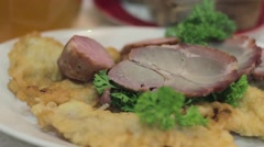Appetizing meal in the restaurant. Drinks, appetizers, fish and meat. Ukrainian Stock Footage
