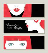 Happy Women's Day banner set with retro girl face - stock illustration