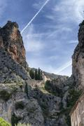 The ancient town Moustiers-Sainte-Marie (France) - stock photo