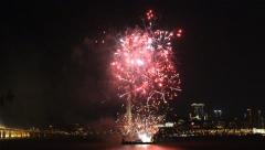 View the fireworks show with the Macau city at the background in Macau, China. Stock Footage