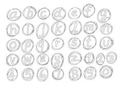 Stock Illustration of Font Sketch Hand drawing letters