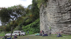 Group of Rock Climbers 4 - stock footage