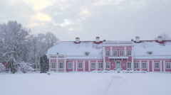 The big pink walls of the Sagadi manor in Estonia Stock Footage