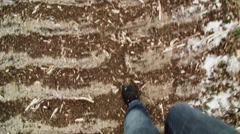 Forestry Theme -  POV of Man Walking on Ground after Clearcut Stock Footage