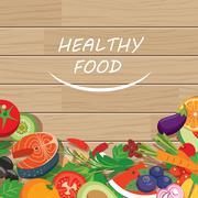 Healthy food frame on wood table Stock Illustration