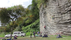 Group of Rock Climbers 6 - stock footage